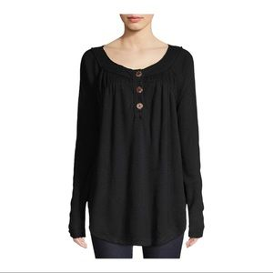 NWT Free People Size XS Black Must Have Long Sleeve Button Thermal Henley Shirt